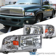 94-01 Dodge Ram 1500 2500 3500 Chrome Clear Headlights+Corner Signal Lamps Pair
