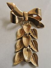 vintage BOW PIN with dangling leaves MOVES when you move