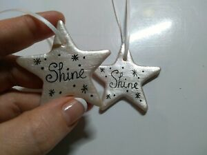 1 Handmade gift clay ornament, gift tag, hanging, star, shine, affirmation,
