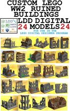 24 custom LEGO WWII WW2 German ruined buildings digital MOC LDD LXF +parts list