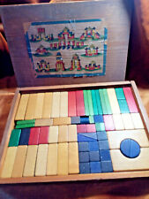 Antique Victorian Box of Child's Wooden Building Blocks Museum Quality