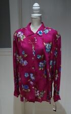 Impressions Womens Long Sleeve Blouse Shirt Pink Floral Print Plus Size 2X NWT