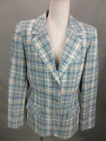 Pendleton Size 14 Womens Blue 100% Wool Plaid Long Sleeve Button-Up Blazer T047