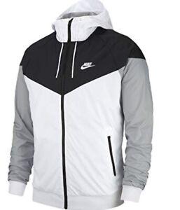 Nike Windrunner Windbreaker Jacket Hoodie White Black 727324-101 Men's Medium