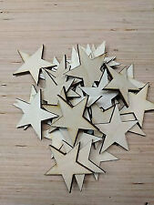 """1"""" mini wood stars - laser cut, flag making wooden stars - diy craft supplies"""
