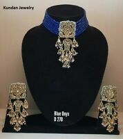 Latest Gold Plated Blue Onyx Kundan Necklace Earrings Bollywood Indian Jewellery