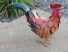 Golden Rooster Metal Chicken Statue Decorative Rooster Decor for Kitchen or Yard