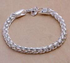 925 Sterling Silver Twisted Rope Men Ladies Bracelet +Gift Pouch D298