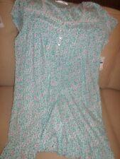 Eileen West White w/ Aqua Blue Floral Cotton Knit Gown XL NWT