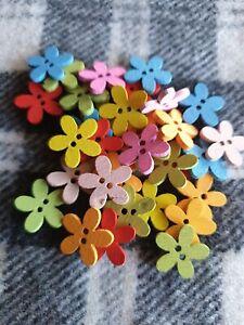 50 bulk mixed flower wooden sewing craft buttons 2 hole 14mm