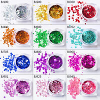 1 Box Nail Art Flakes Glitter Sequins Paillette Round 3D Holo Tips Decoration