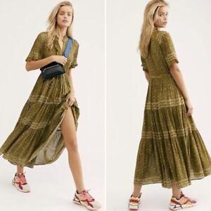 NEW FREE PEOPLE Rare Feelings Maxi Dress, Green, S