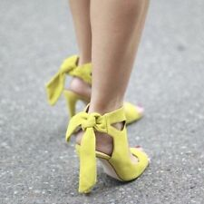 Rare!!! US6.5/ EUR37 - ZARA LEATHER HIGH HEELED SANDALS WITH BOW YELLOW SHOES