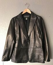 New Banana Republic Genuine Leather Black Exposed Seam Jacket Size 12