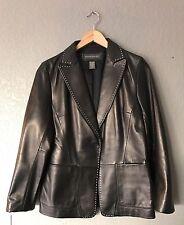 New Banana Republic Genuine Leather Black Exposed Seam Jacket Size 12