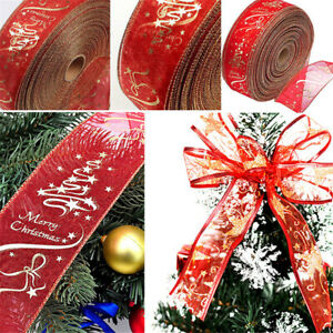 1 Roll Glitter Ribbons DIY Decoration Wire-edged Ribbon Rolls Christmas Unique