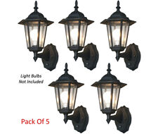 Elegant 6-Panel Outdoor Lanterns With Smart Photocell Sensors - Pack Of 5
