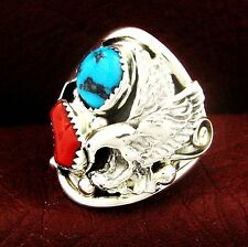 Eagle Ring Size 11.5 - R72 E Native American Sterling Turquoise & Coral Men's