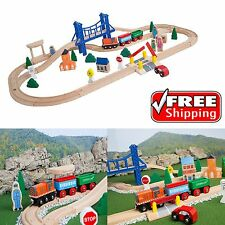 Train Set Wooden Learning 52Pcs Toy Melissa Doug Railway Kids Compatible Track