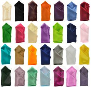 Mens Plain Silky Satin Handkerchiefs Wedding Party Pocket Square Hanky 50 Colour