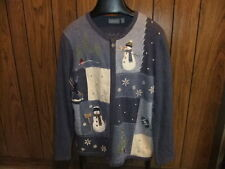 Ugly Christmas sweater snowman Let it Snow womans 1X blue zipper Croft & Barrow