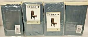 NEW 4-Pack Surefit Stretch Short Dining Chair Cover - Pinstripe FRENCH BLUE