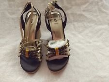 Black and Gold Wedge Sandals with tie ankle straps (gold lame) size 5.5