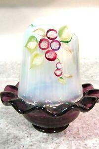 """Fenton Glass Aubergine  Handpainted """"Iced Berries"""" Fairy Lamp, new"""