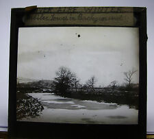 c1900s RIVER AIRE in WINTER & Jubilee Towers Yorkshire Glass Lantern Photo Slide