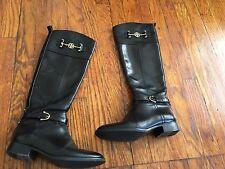 Tory Burch Nadine Black Equestrian Tall Riding Boots Size 11