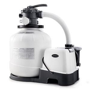 Intex 16 Inch 2,150 GPH Krystal Clear Saltwater System & Sand Filter Pump, Gray
