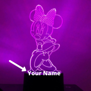 Minnie Mouse Disney CUSTOM 3D Night Light LED 7 Colour  Touch Table Lamp Gift