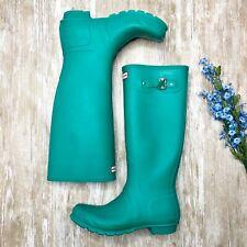 HUNTER Original Tall Rain Boots - US Womens 10 - Teal Green Rubber