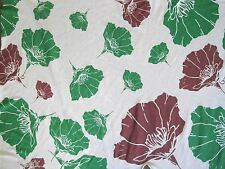 Cotton Flower Print Fabric Jersey Knit by the Yard Green Maroon