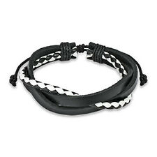 Black & White Adjustabe Leather Bracelet w/ 3 Entangled Layer One Size Fits Most