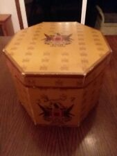 Vintage Knox New York Red/ Brown/Gold Octagon Double Hat Box Vg