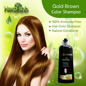 500ML HERBISHH COLOR SHAMPOO HERBAL HAIR COLOR DYE AMMONIA FREE BROWN GOLD