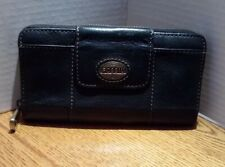 Fossil Women's Black Leather Zip Around Wallet EXCELLENT USED CONDITION