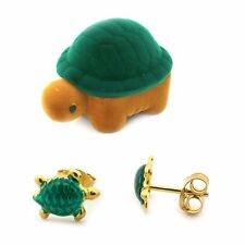 Girls' Gold Plated Sterling Silver Green Enamel Turtle Earrings w Matching Box
