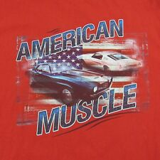 American Muscle Cars Red Tee T Shirt Americana Mustang Shelby and Camaro Sz XL