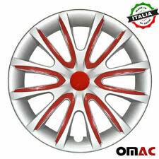 """16"""" Inch Hub Cap Wheel Rim Cover for Mazda Gray with Red Insert 4pcs Set"""