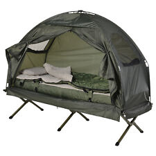 Outdoor 1-person Folding Tent Elevated Camping Cot w/Air Mattress Sleeping Bag
