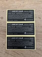 Nintendo Game Boy Color Replacement Model Information Sticker For Colour x3