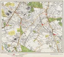 Tooting Streatham Norbury area Map London 1932 #107-108