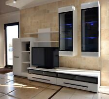 High quality wall unit in white gloss, modern, lovely, led lights,  6 pieces!