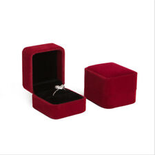 Black Velvet Engagement Wedding Ring Pendant Jewelry Box Case Present Xmas Gift