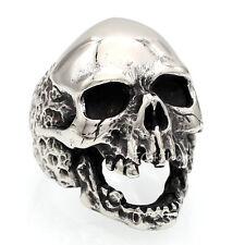 Men's Gothic Rocker Biker Vintage Stainless Steel Demon Skull Ring Silver/Black