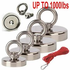 Upto 1000lb Fishing Magnet Kit Strong Neodymium Pull Force With Rope Carabiner
