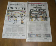 2 2017 PENGUINS WIN STANLEY CUP NEWSPAPERS - POST GAZETTE & TRIBUNE REVIEW