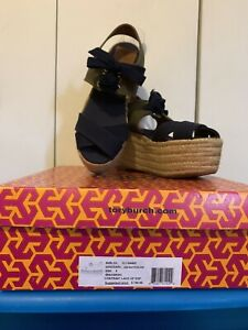 Tory Burch Navy/Olive Contrast Canvas Wedge Espadrilles Size 8B Pre-Owned  W/Box